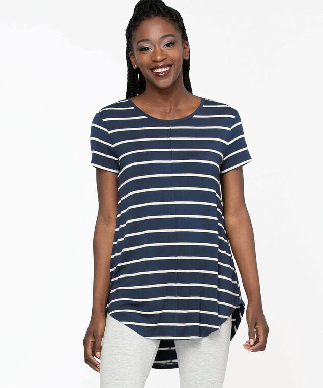 Striped Short Sleeve Tunic Top, Navy/Grey Mix Stripe