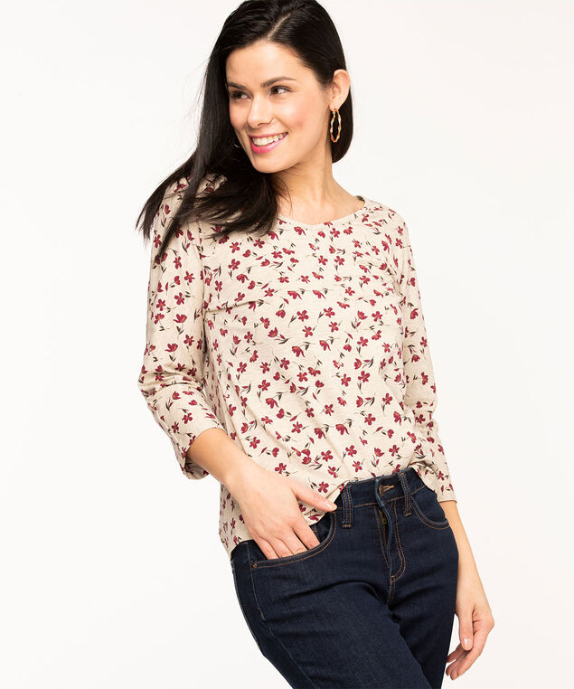 Twisted Keyhole Back Raglan Tee, Tan/Wine Floral