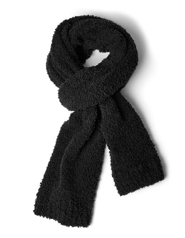 Black Cozy Knit Scarf, Black, hi-res