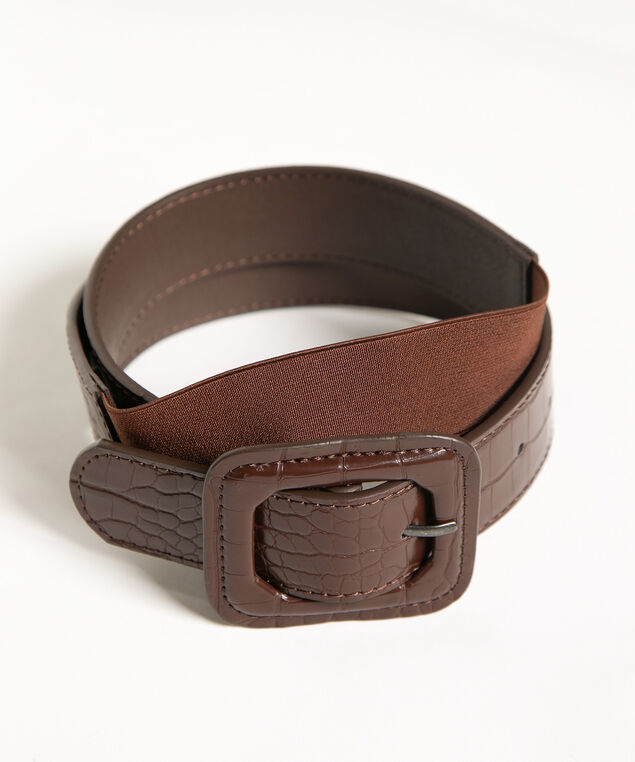 Brown Croco Stretch Dress Belt, Brown, hi-res