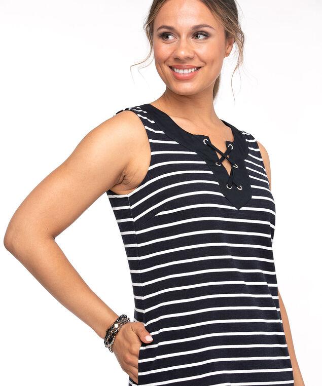 Cotton Tie Neck Slub Dress, Navy/White Stripe