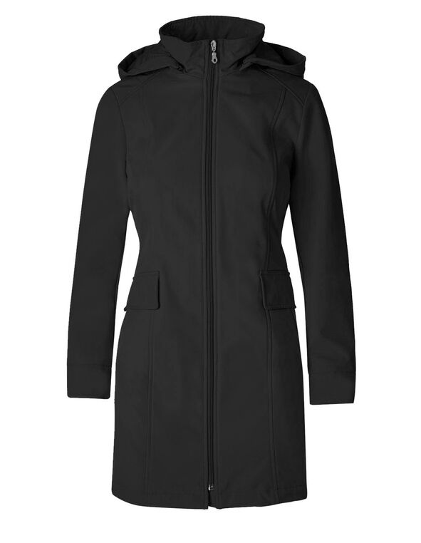 Black Softshell Hooded Jacket, Black, hi-res