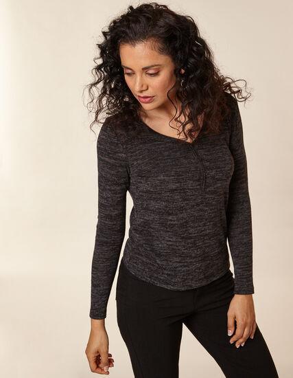 Grey Knit Hacchi Button Front Top, Grey/Black, hi-res