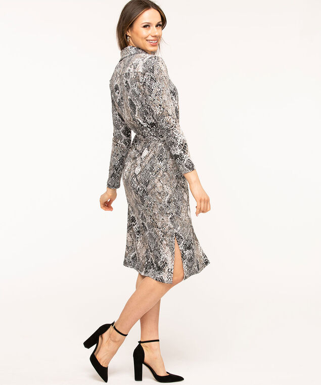 Grey Python Belted Shirt Dress, Grey