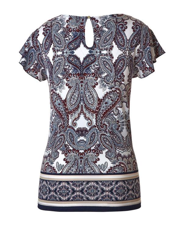Paisley Printed Ruffle Sleeve Top, Sangria/Navy, hi-res