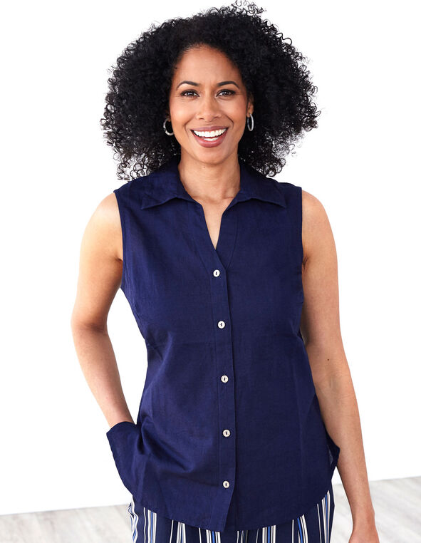 Navy Cotton Linen Blend Blouse, Navy, hi-res