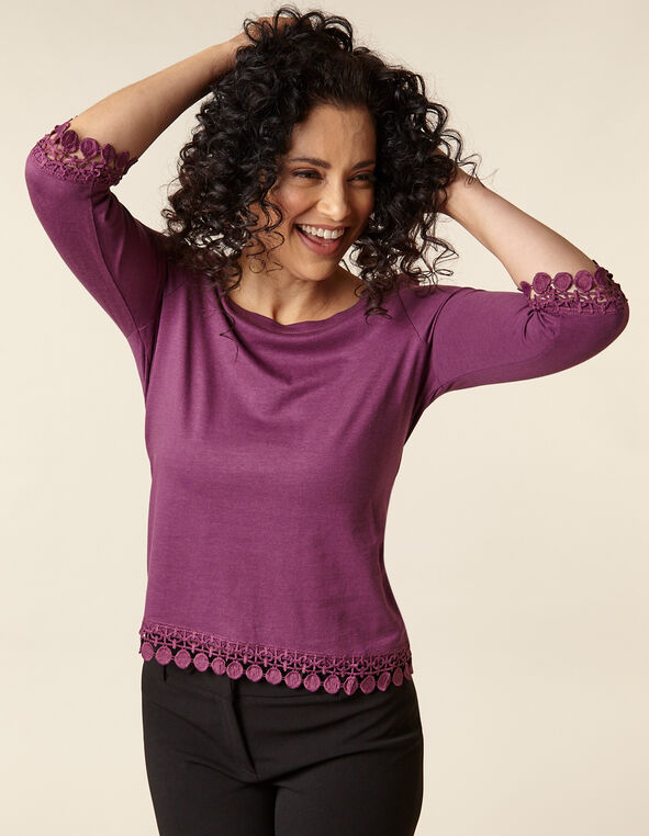Berry Lace Hem Tee, Purple/Berry, hi-res