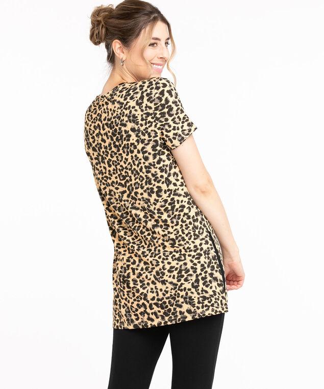 Recycled Side Slit Tunic Top, Camel/Black Animal Print
