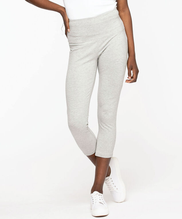 Cotton Blend Capri Legging, Grey