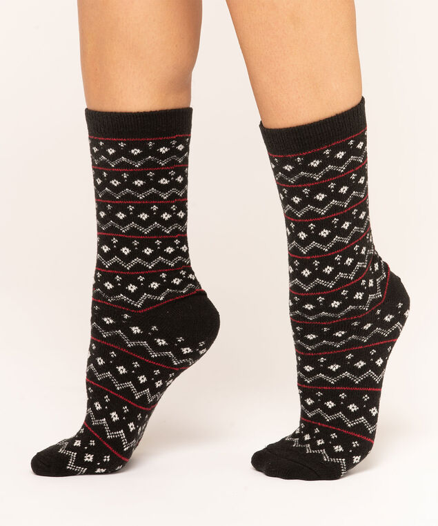 Fair Isle Plush Sock 2-Pack, Grey/Black/Red, hi-res