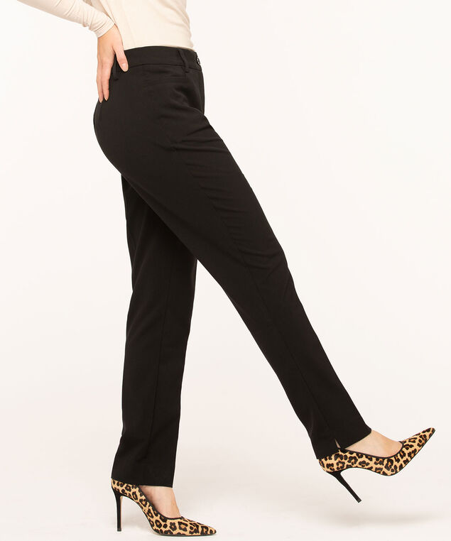Black Slim Pant - Curvy , Black, hi-res