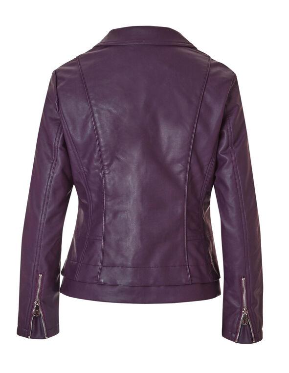 Deep Plum Faux Leather Jacket, Deep Plum, hi-res