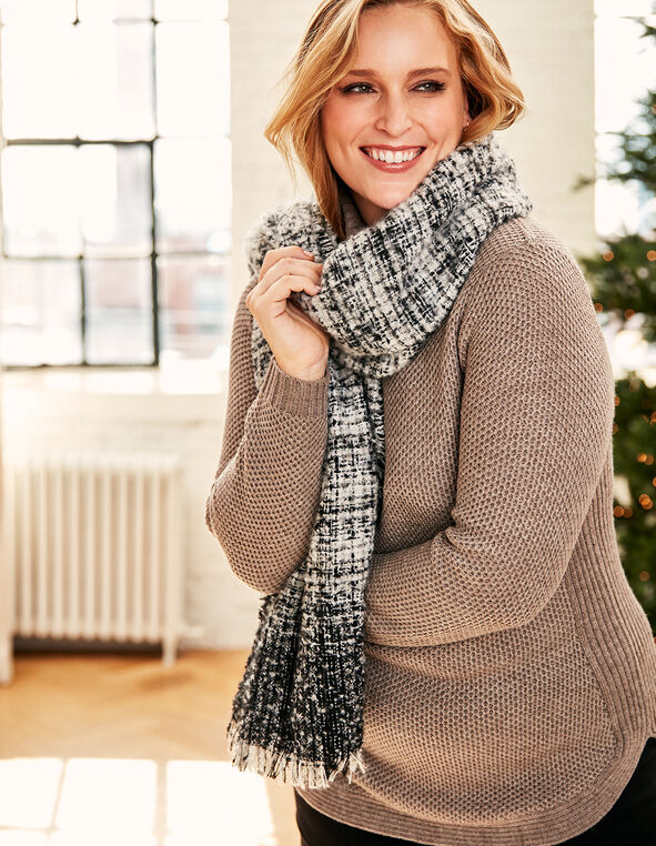 Grey Woven Tweed Boucle Scarf, Grey, hi-res