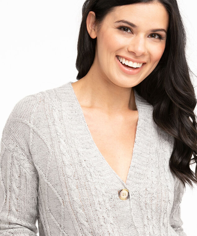 Recycled Cable Knit Cardigan, Light Grey Mix