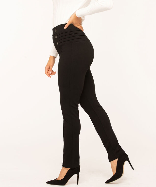 Black Button Detail Legging, Black