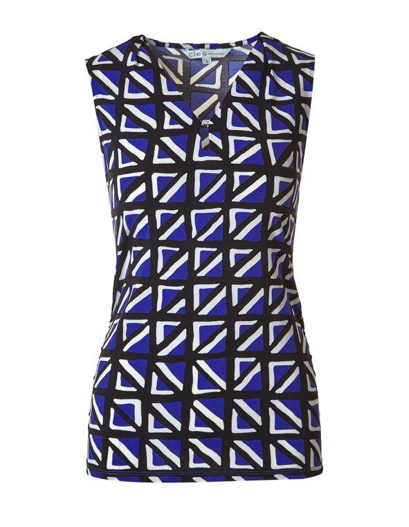 Cobalt Pattern Ruched Top, Cobalt/Black/White, hi-res