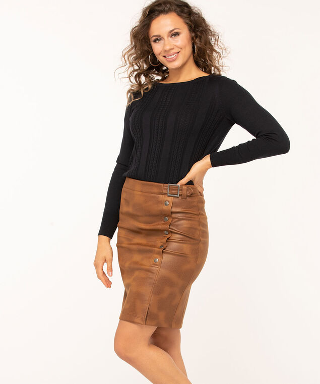 Camel Faux Leather Skirt, Camel, hi-res
