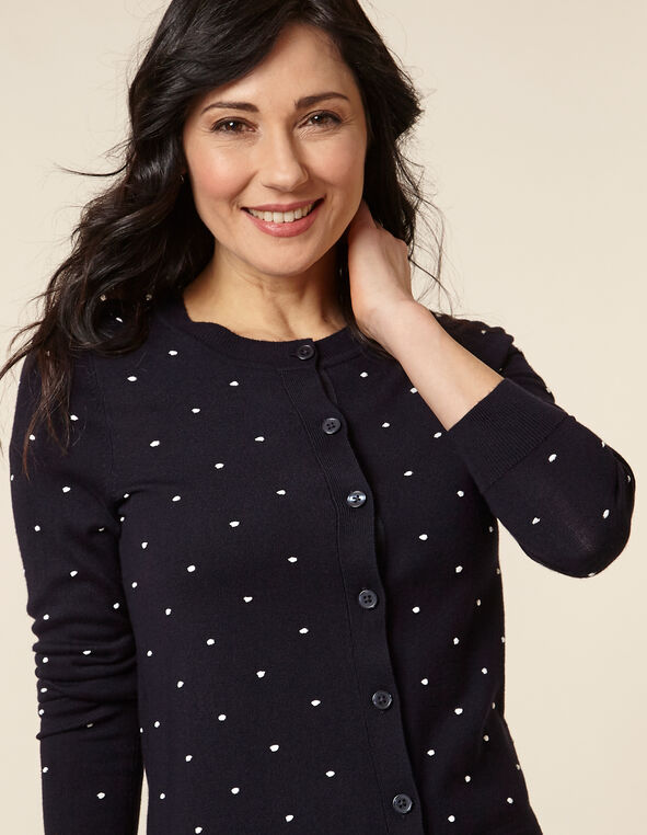Navy Dot Button Front Cardigan, Navy, hi-res