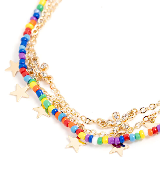 Multi Chain Gold Beaded Anklet, Gold
