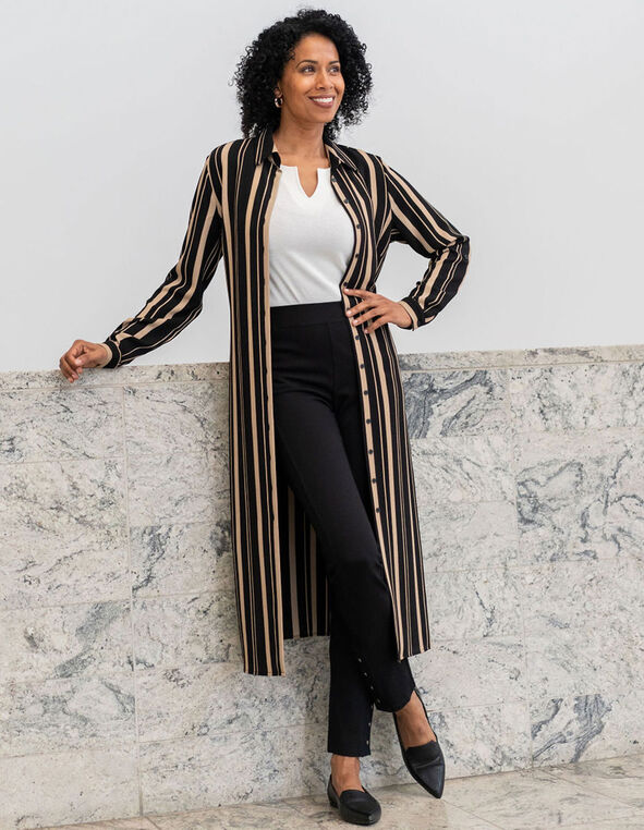 Camel Stripe Shirt Dress, Black, hi-res