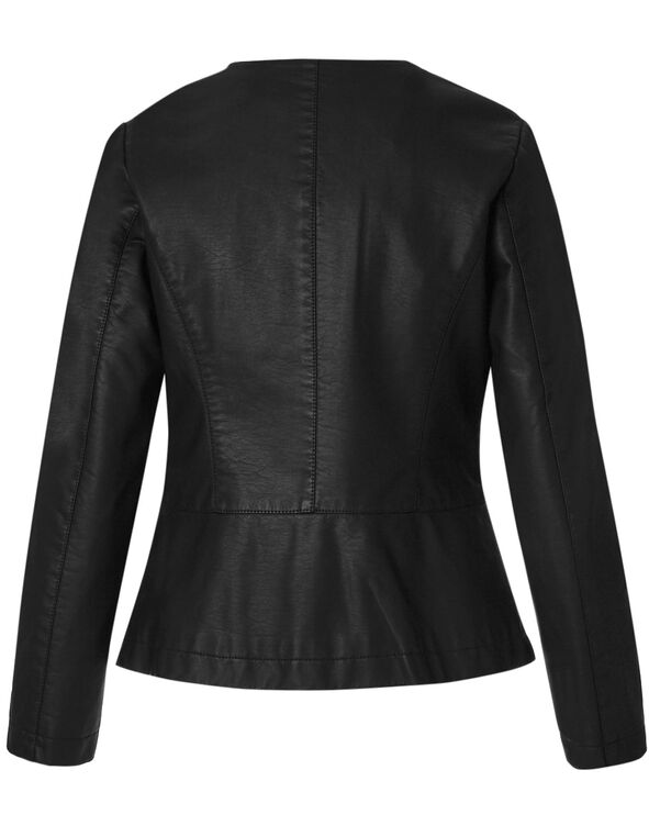 Black Button Faux Leather Jacket, Black, hi-res