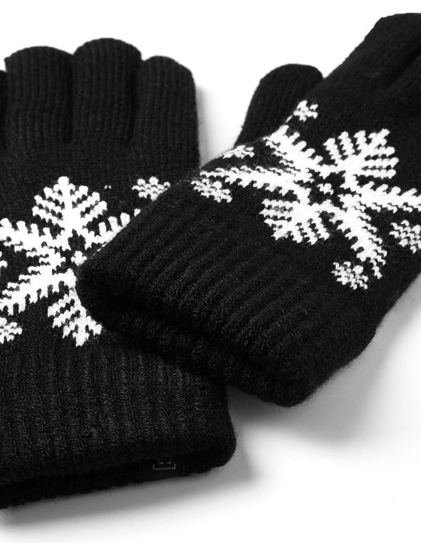Black Snowflake Ultra Soft Glove, Black, hi-res