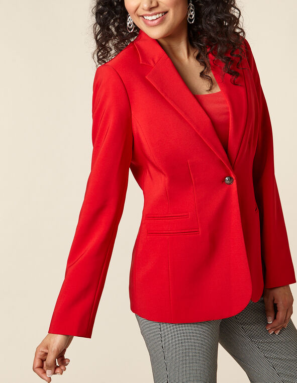 Poppy Button Blazer, Red/Poppy, hi-res