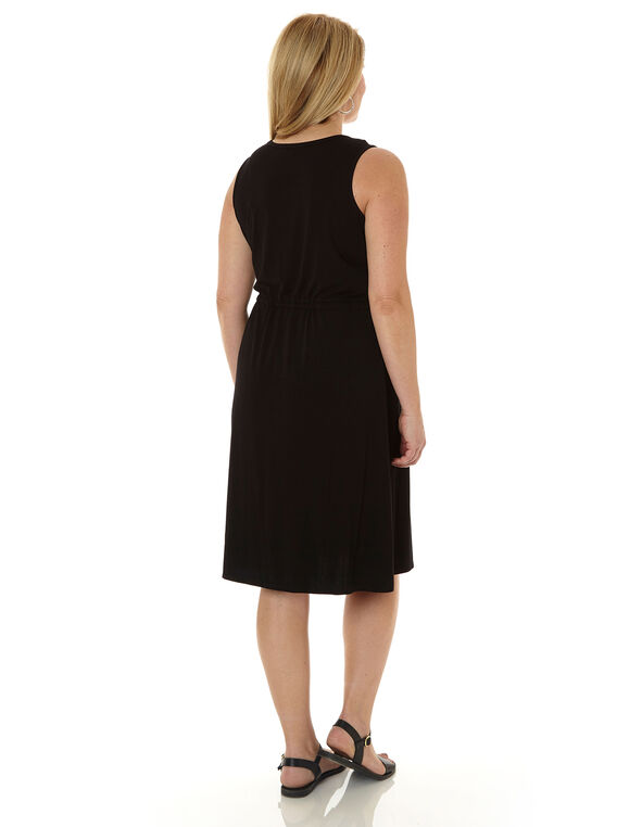 Black Tie Waist Dress, Black, hi-res