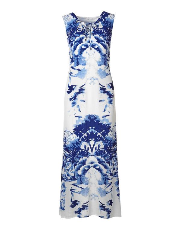 Blue Lace Up Maxi, Blue/White, hi-res