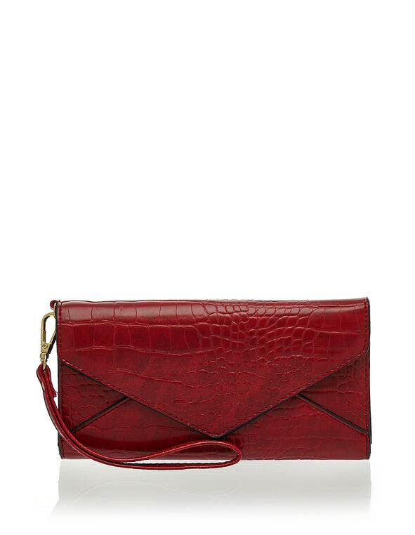 Red Croco Envelope Wallet, Red, hi-res