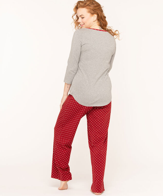Joyful Heart Pajama Set, Grey/Red, hi-res