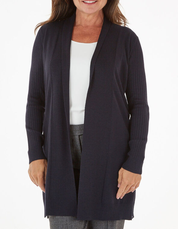 Navy Recycled Fabric Cardigan, Navy, hi-res