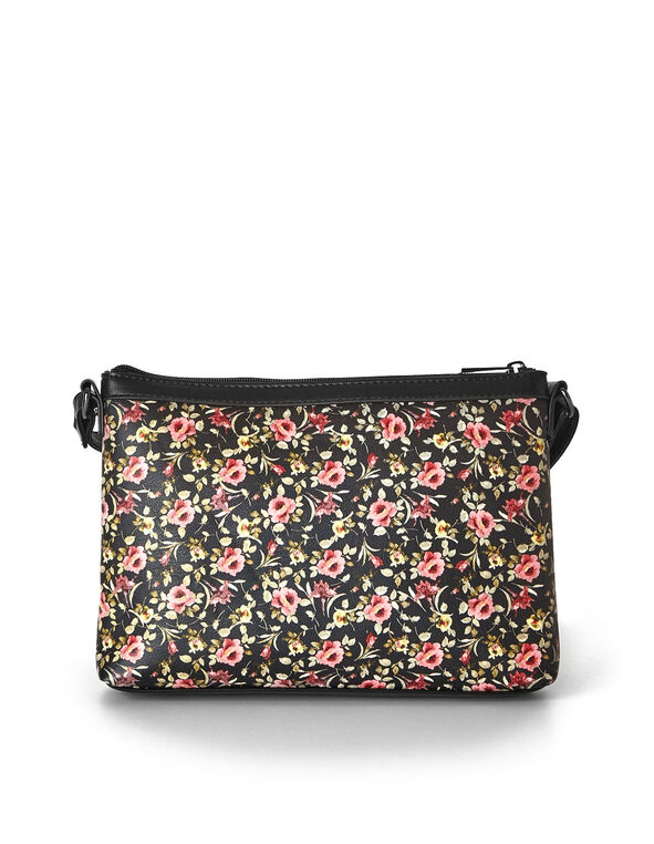 Black Floral Printed Crossbody Handbag, Black, hi-res