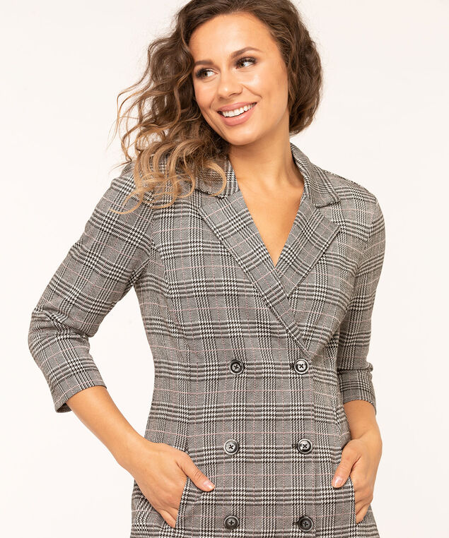 Plaid Collared Button Front Dress, Grey/Black/Rust