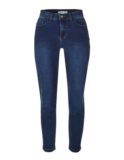 Dark Wash Studded Ankle Jean, Dark Wash, hi-res