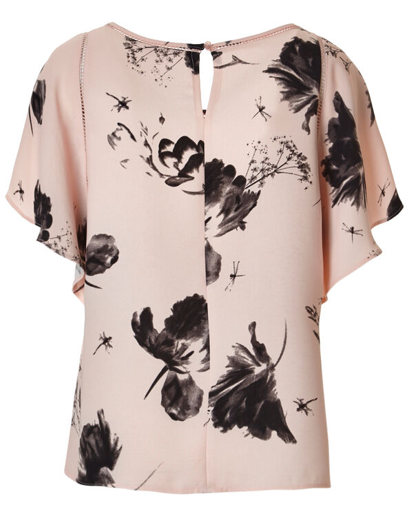 Seashell Pink Flutter Blouse, Seashell Pattern, hi-res