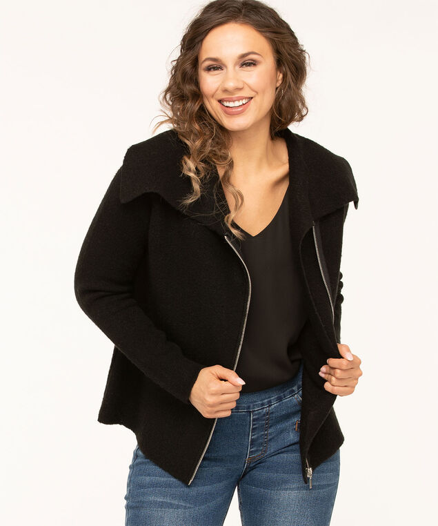 Black Asymmetrical Zip Front Sweater, Black, hi-res