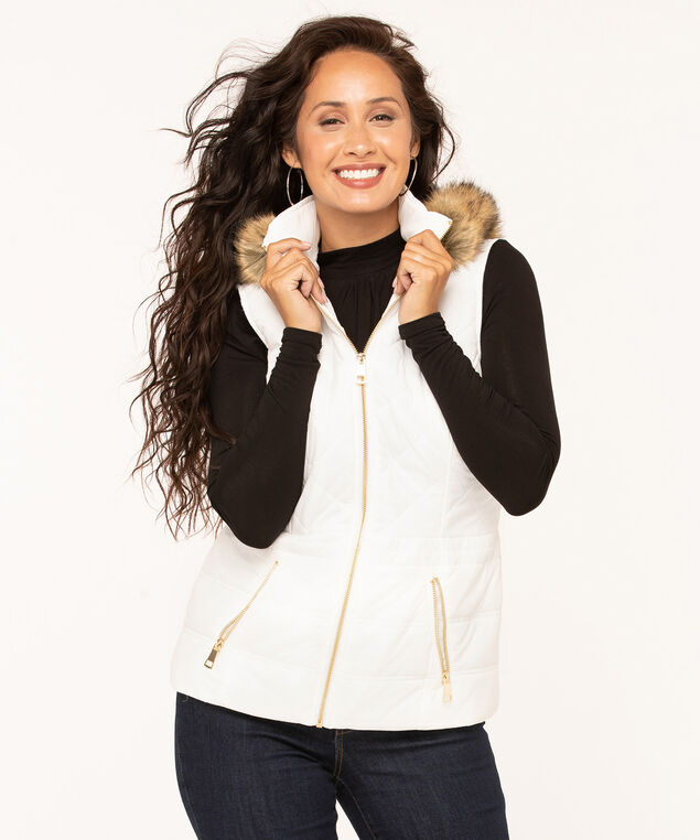 Ivory Hooded Quilted Vest, Ivory, hi-res