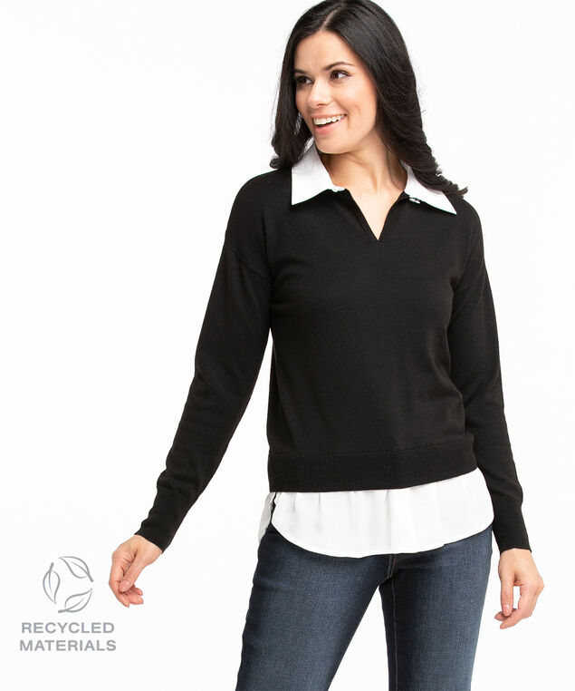 Recycled Collared Fooler Sweater, Black/Ivory