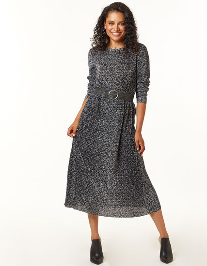 Mesh Ditsy Dress, Black, hi-res