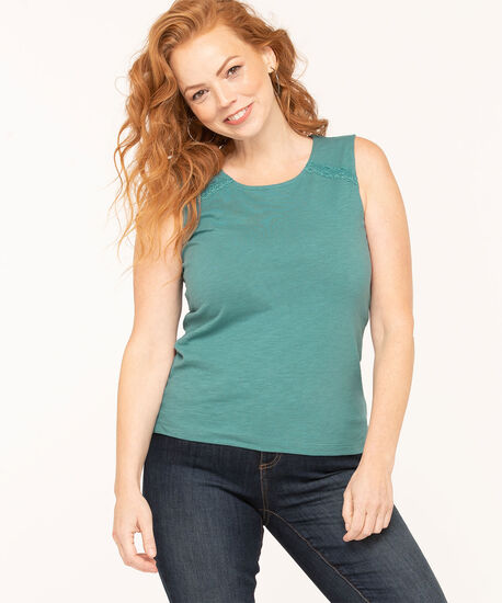 Cotton Sleeveless Knit Top, Teal, hi-res