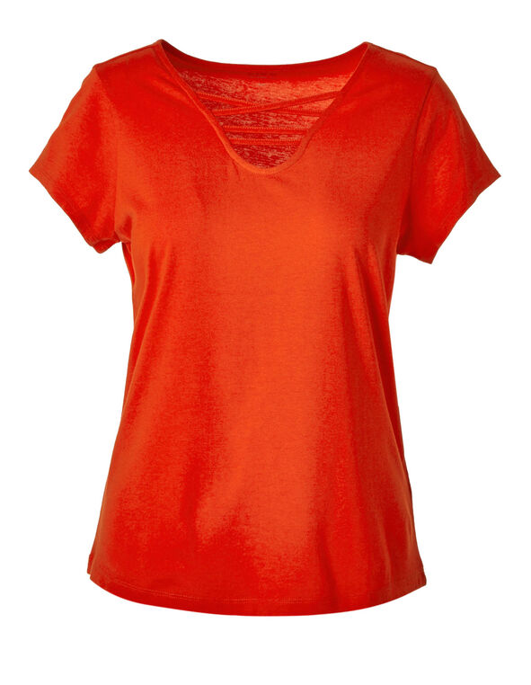 Orange Criss-Cross Tee, Orange, hi-res