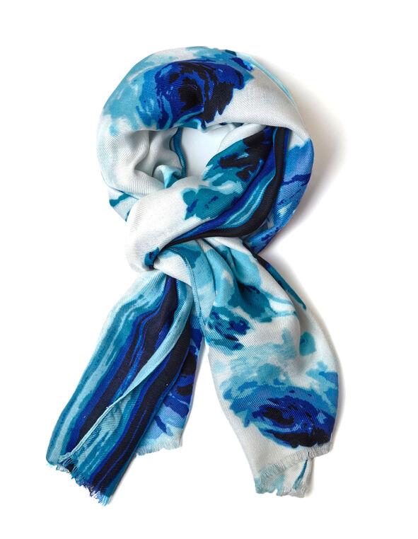 Blue Floral Striped Pashmina Scarf, Blue, hi-res
