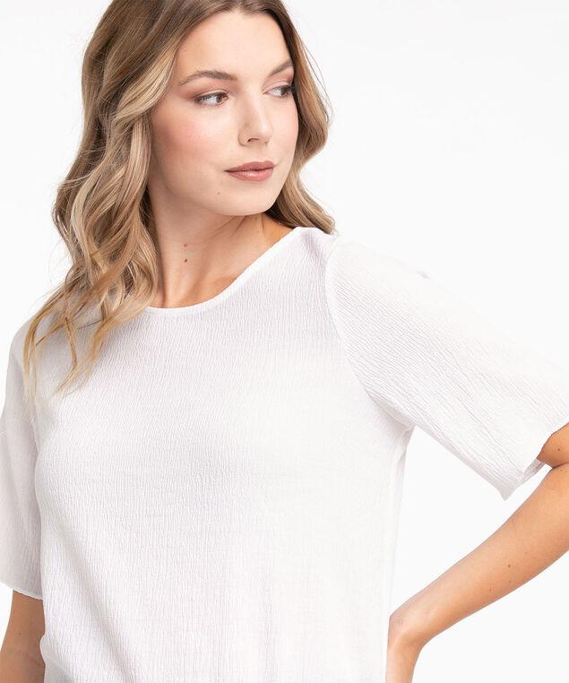 Shirred Short Sleeve Blouse, White