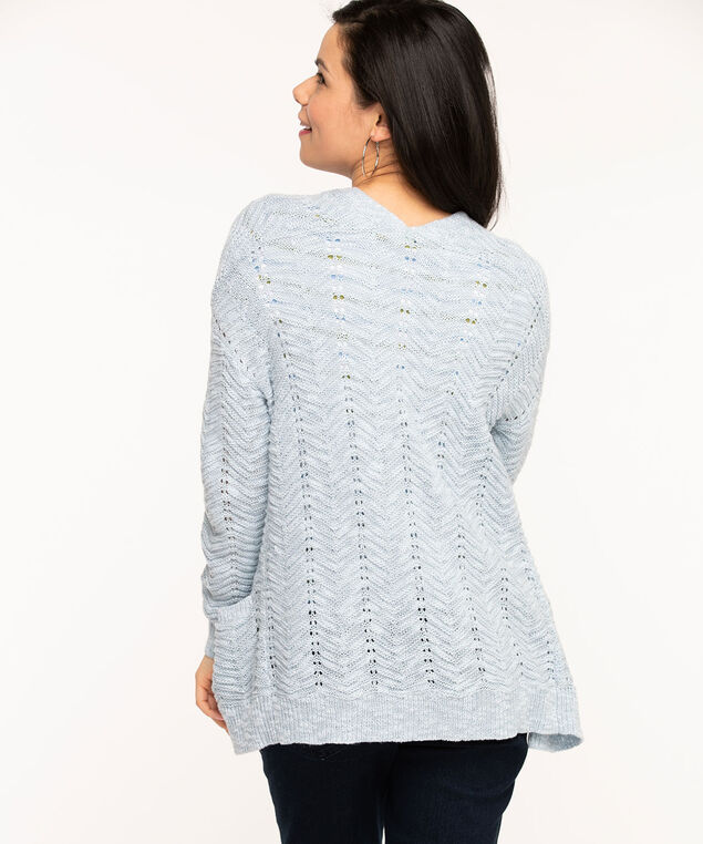 Pointelle Stitch Long Open Cardigan, Sky Blue