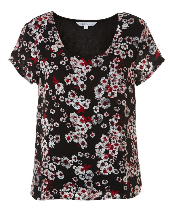 Black Floral Print Woven Top, Black, hi-res