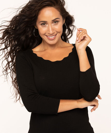 Scallop Edge Essential Sweater, Black, hi-res