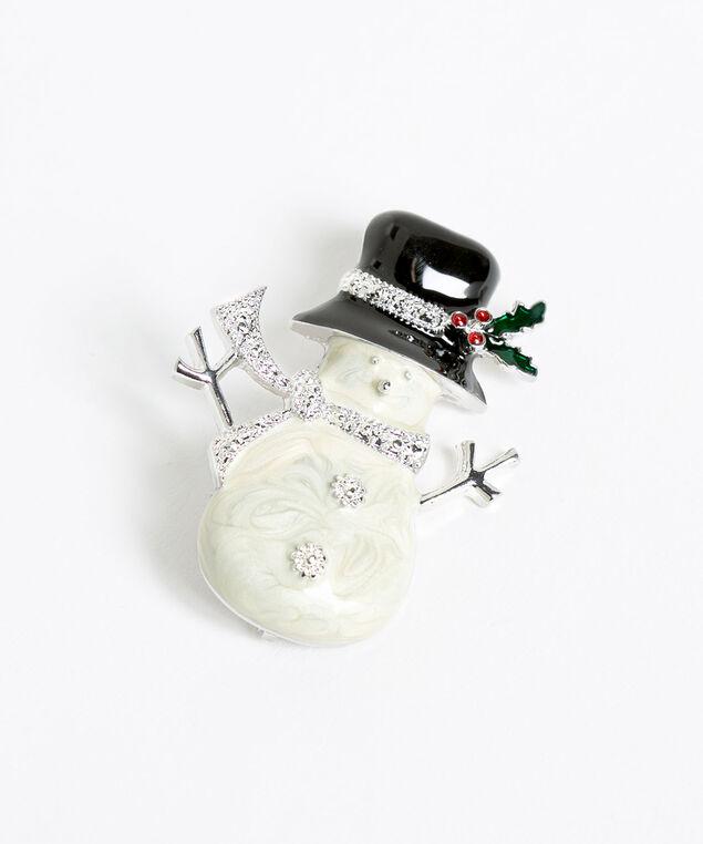 Snowman Enamel Pin, Silver/Ivory/Black, hi-res