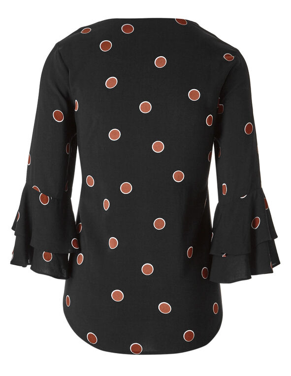 Black Dotted Ruffle Sleeve Blouse, Black, hi-res