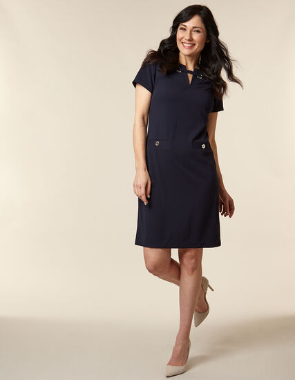 Navy Crepe A-Line Dress, Navy, hi-res